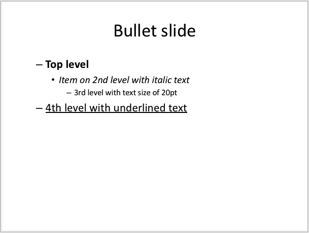 Example of bullet slide generated by LibPptx