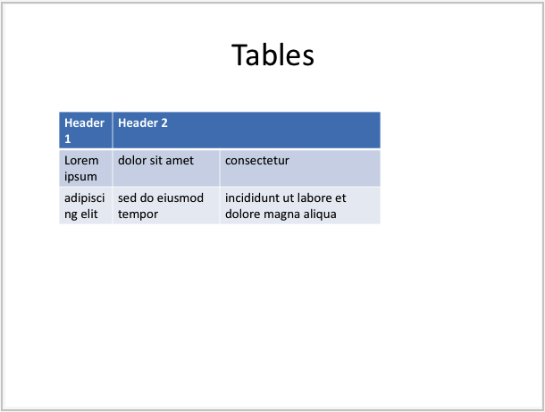 Example of slide with table generated by LibPptx